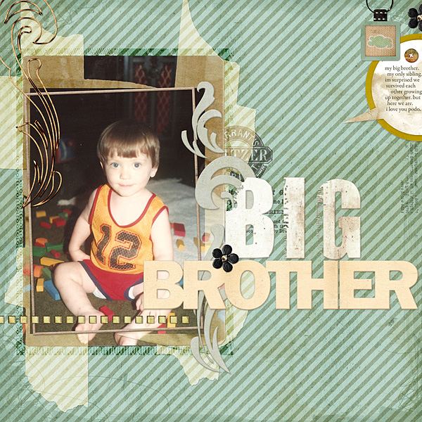 """Digital Scrapbooking Layout """"Big Brother"""" by Amanda S (see supply list with links below)"""