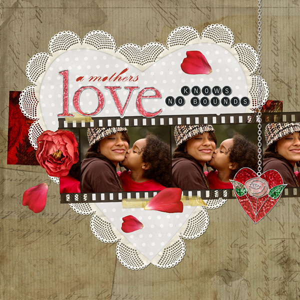 "Digital Scrapbooking Layout ""A Mothers Love"" by Amanda S (see supply list with links below)"