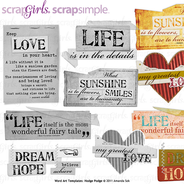 Sold Separately ScrapSimple Word Art Templates: Hodge Podge - Commercial License (link to product below)