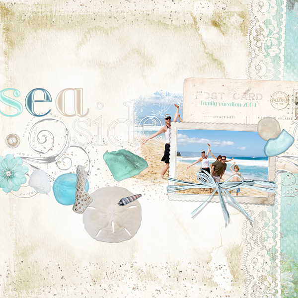 "Digital Scrapbooking Layout ""Sea Side"" by Amanda S (see supply list with links below)"