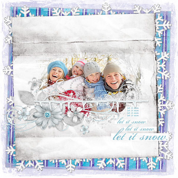 "Digital Scrapbooking Layout ""Let It Snow"" by Amanda S (see supply list with links below)"