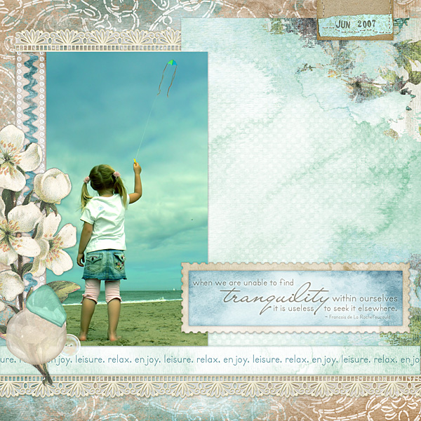Layout by Amanda S using Sea Glass Collection Mini, Brush Set: Stamped Dates, Lacey Borders Embellishments, Legacy Collection Biggie