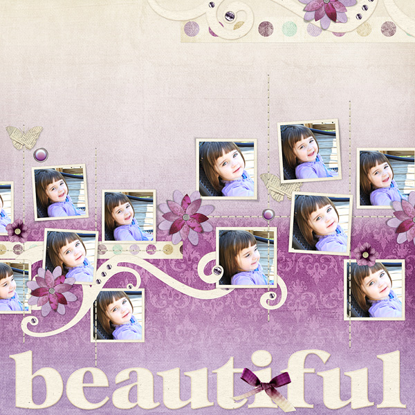 "Digital Scrapbooking Layout ""Beautiful"" by Amanda S (see supply list with links below)"