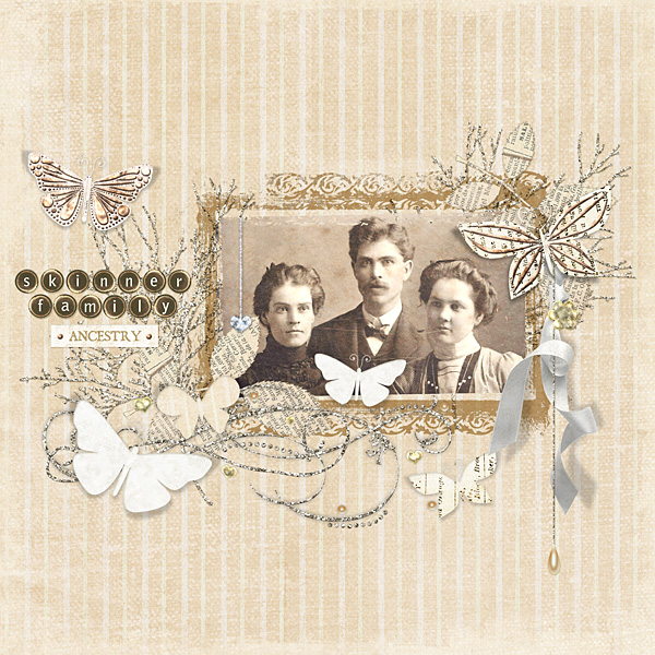 "Digital Scrapbooking Layout ""Skinner Family"" by Amanda S (see supply list with links below)"
