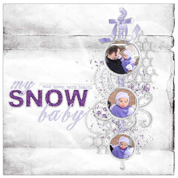 """Digital Scrapbooking Layout """"Snow Baby"""" by Amanda S (see supply list with links below)"""