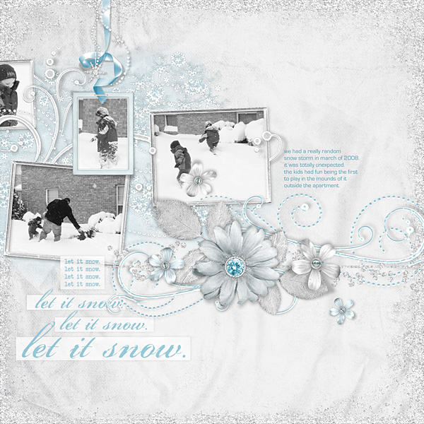 """Digital Scrapbooking Layout """"Let It Snow"""" by Amanda S (see supply list with links below)"""