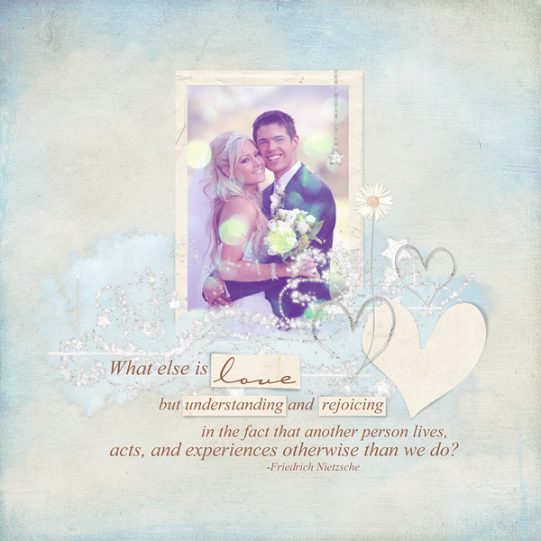 """Digital Scrapbooking Layout """"What Is Love"""" by Amanda S (see supply list with links below)"""