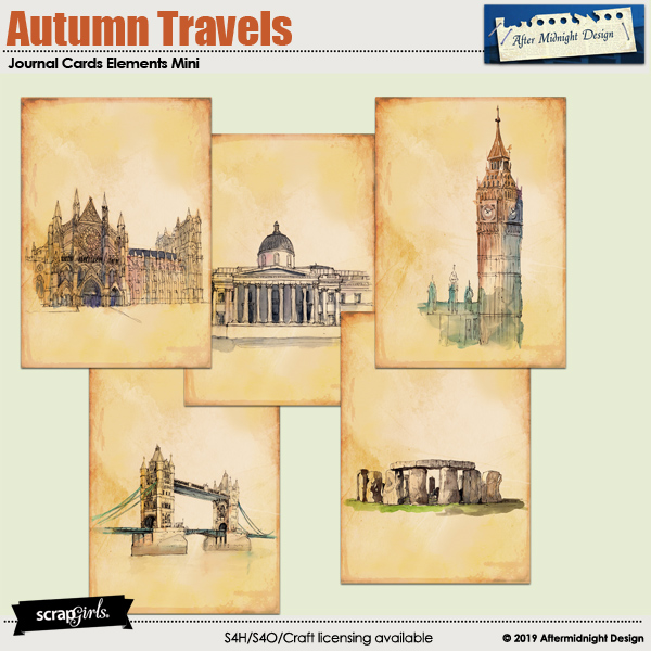 Autumn Travels Journal Cards elements Mini by Aftermidnight Design