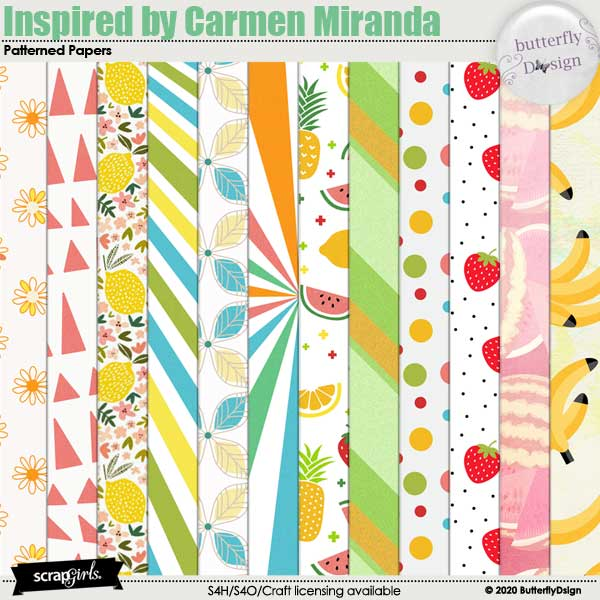 Inspired By Carmen Miranda Patterned Papers