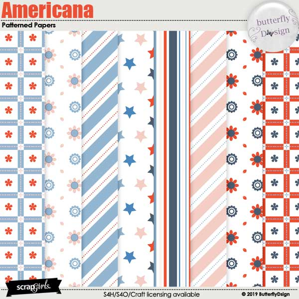 Americana Patterned papers