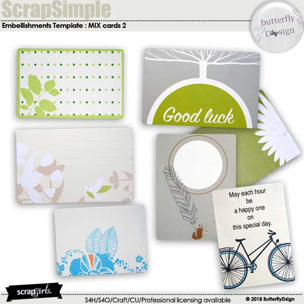 ScrapSimple Embellishment Templates: Mix Cards 2