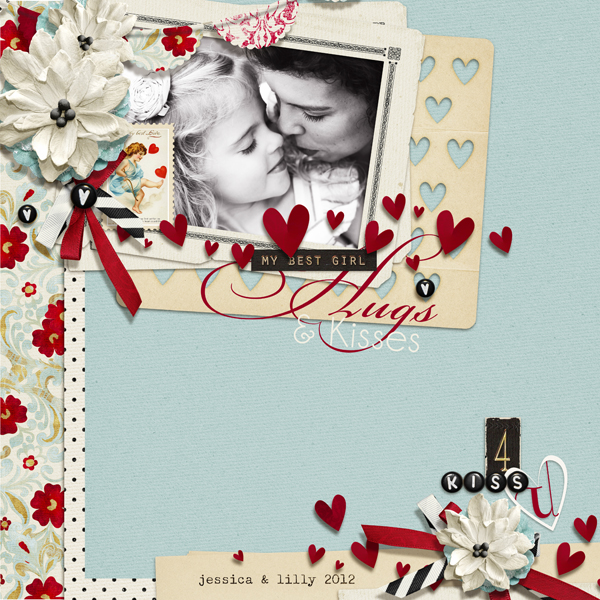 """Hugs & Kisses"" digital scrapbooking layout by Brandy Murry."
