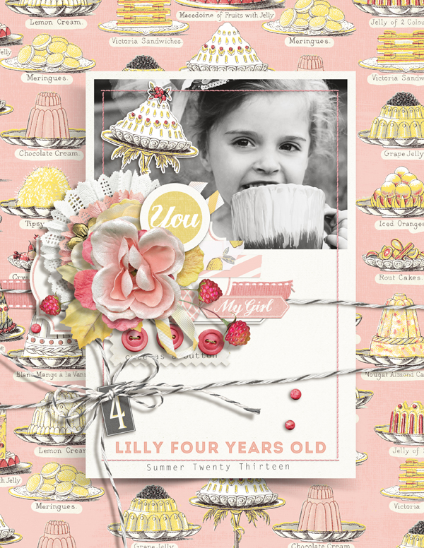 """Lilly  at Four"" digital scrapbooking layout by Brandy Murry"