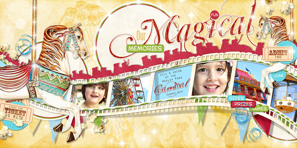 �Magical Memories (Double Page)� layout by Brandy Murry. See below for links to all products used in this digital scrapbooking layout.