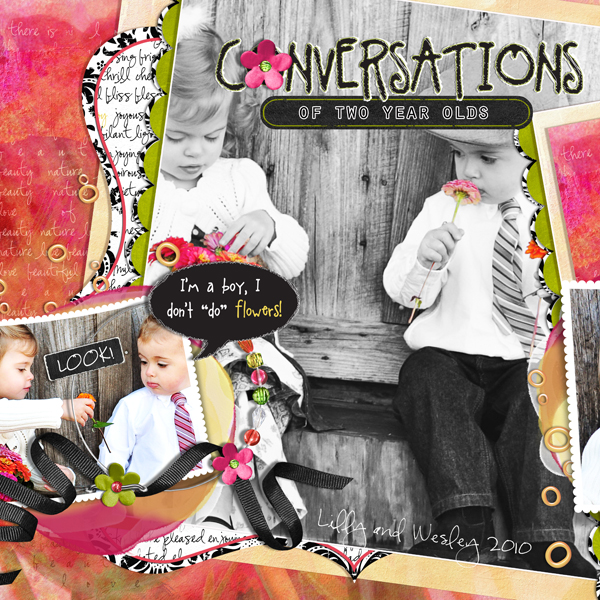 Conversations of Two Year Olds (Left) layout by Brandy Murry. See below for links to all products used in this digital scrapbooking layout.