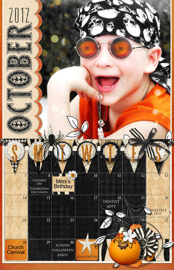 October Calendar page by Brandy Murry. See below for links to all products used in this digital scrapbooking layout.