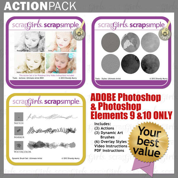 """Also Available: <a href=""""http://store.scrapgirls.com/product/25103/"""">Action Pack: Ultimate Artist</a> (Sold Separately)"""