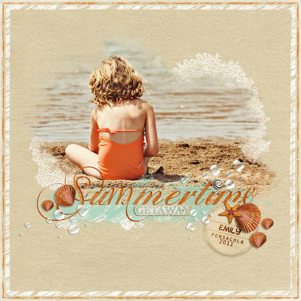 �Summertime 2� layout by Brandy Murry. This layout uses the ScrapSimple Easy Page Album: Coastal.