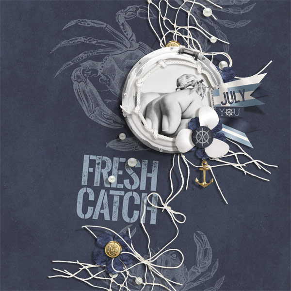 Fresh Catch digital scrapbooking crab layout by Brandy Murry