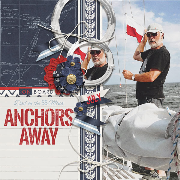 Anchors Away digital scrapbooking sailing layout by Brandy Murry