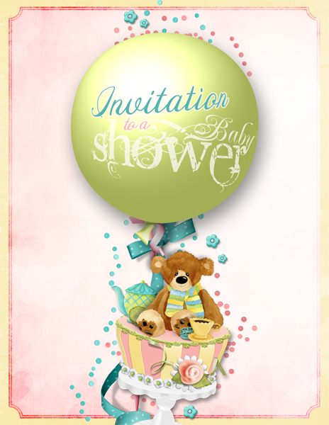 Shower Invitation  layout by Brandy Murry. See below for links to all products used in this digital scrapbooking layout.