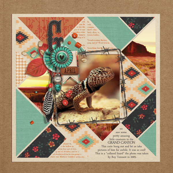 """Lizard"" digital scrapbooking layout by Brandy Murry"