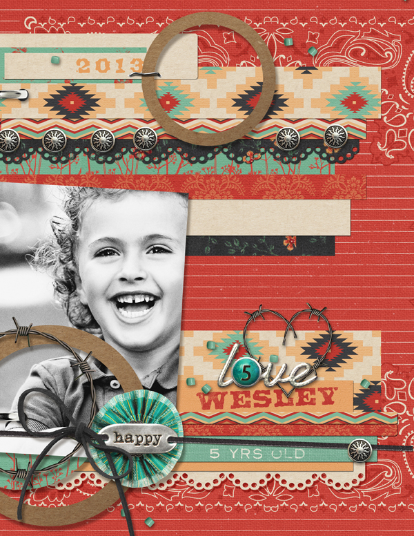 """Happy Wes"" digital scrapbooking layout by Brandy Murry"