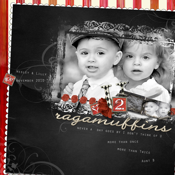 """Two Ragamuffins layout by Brandy Murry. See below for links to all products used in this digital scrapbooking layout."