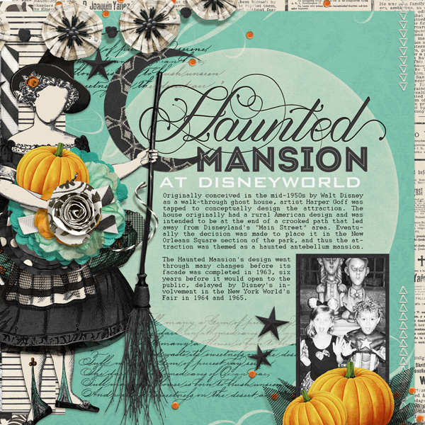 Haunted Mansion digital scrapbooking layout by Brandy Murry