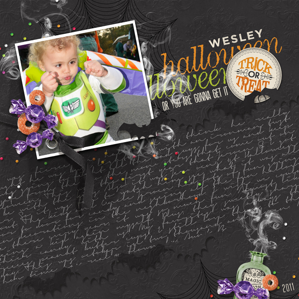 Halloween digital scrapbooking layout by Brandy Murry