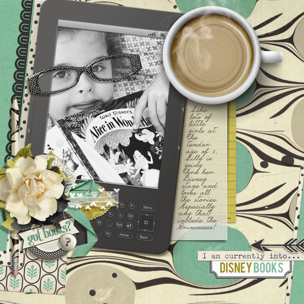 """Currently into Disney"" digital scrapbooking reading layout by Brandy Murry"