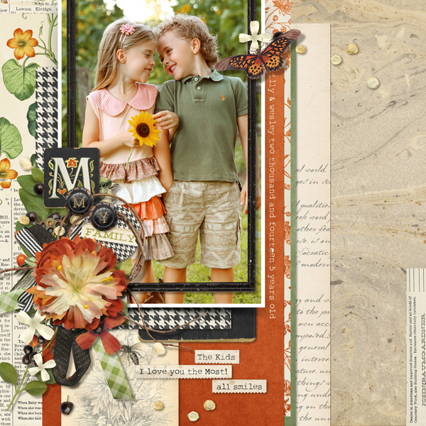 """The Kids"" digital scrapbooking layout by Brandy Murry"