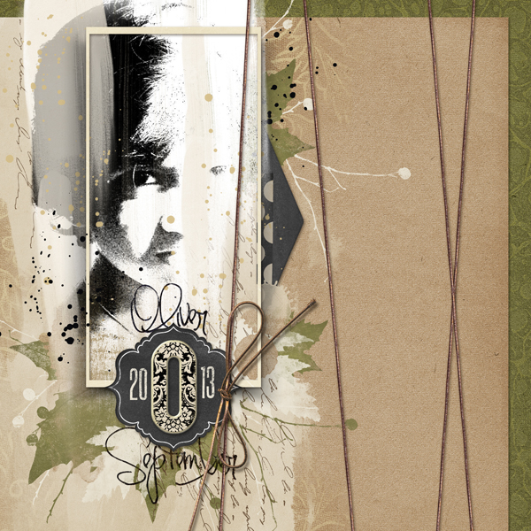 """""""Oliver"""" digital scrapbooking layout by Brandy Murry."""