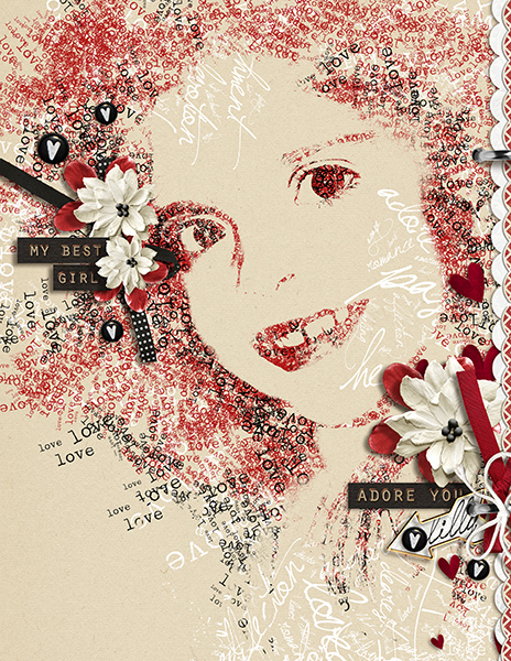 """""""Lilly Made of Love"""" digital scrapbooking layout above by Brandy Murry."""