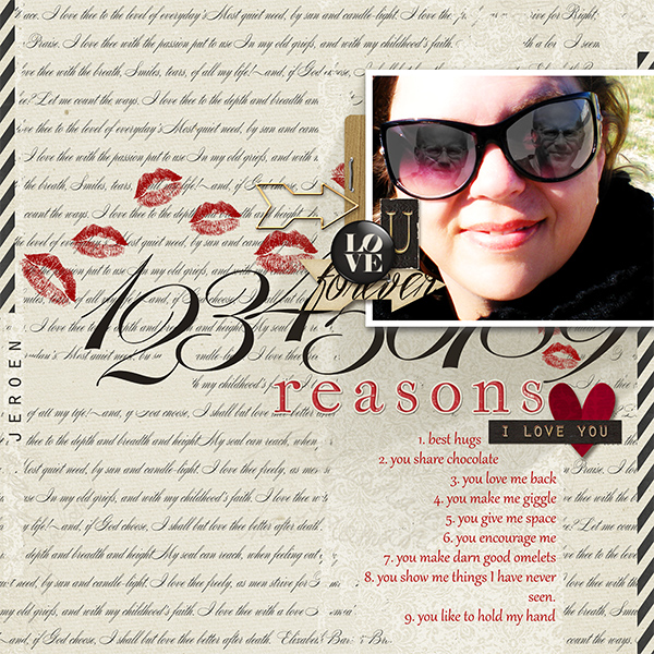 """""""9 Reasons I Love You"""" digital scrapbooking layout above by Brandy Murry."""