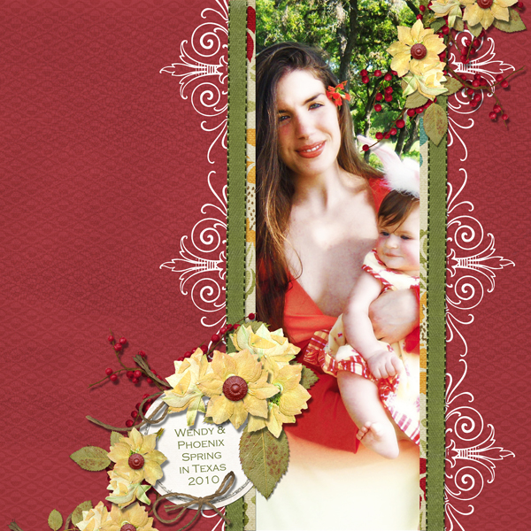 Spring in Texas layout by Brandy Murry. See below for links to all products used in this digital scrapbooking layout.