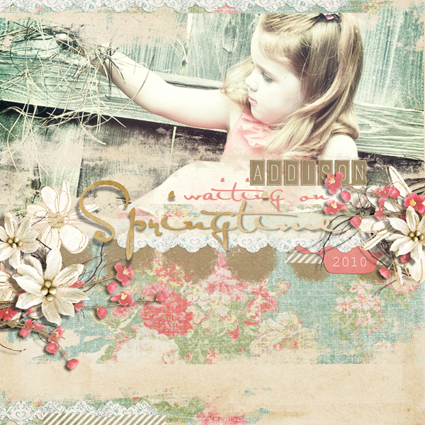 """Waiting on Springtime"" digital scrapbooking layout by Brandy Murry."