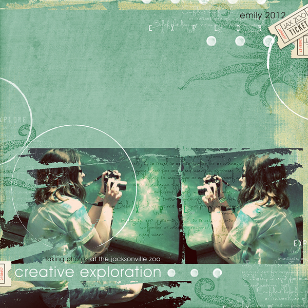 """Creative Exploration"" digital scrapbooking layout by Brandy Murry. See below for links to all products used in this digital scrapbooking layout."