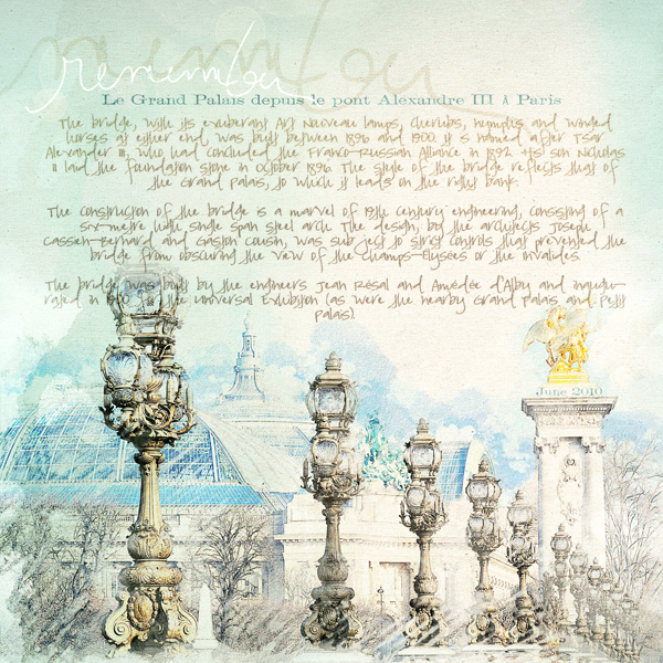 Le Grand Palais layout by Brandy Murry. See below for links to all products used in this digital scrapbooking layout.