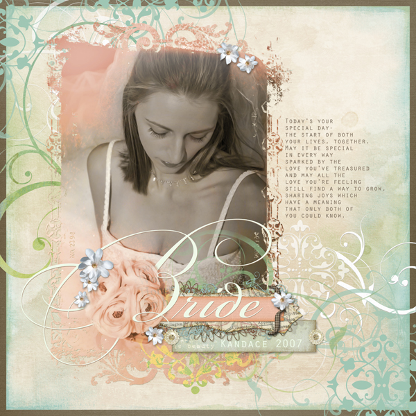Bride layout by Brandy Murry. See below for links to all products used in this digital scrapbooking layout.