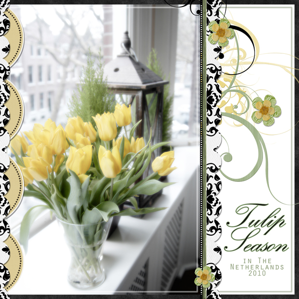 Tulip Season layout by Brandy Murry. See below for links to all products used in this digital scrapbooking layout.