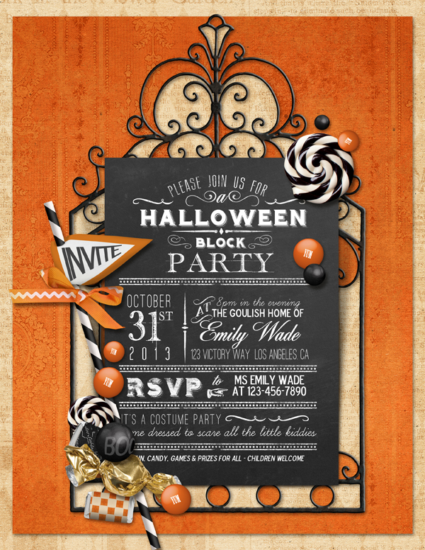 """Halloween Party E Invitation"" digital scrapbooking layout by Brandy Murry"