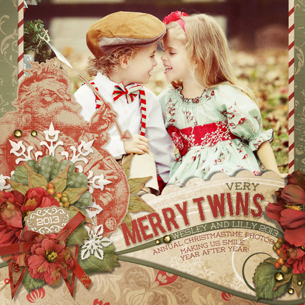 """Merry Twins"" digital scrapbooking layout by Brandy Murry."