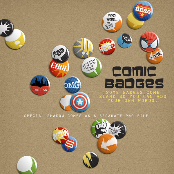 Also Available: Comic Badges Embellishment Mini (Sold Separately)