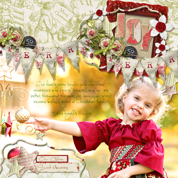 �Joy� layout by Brandy Murry. See below for links to all products used in this digital scrapbooking layout.