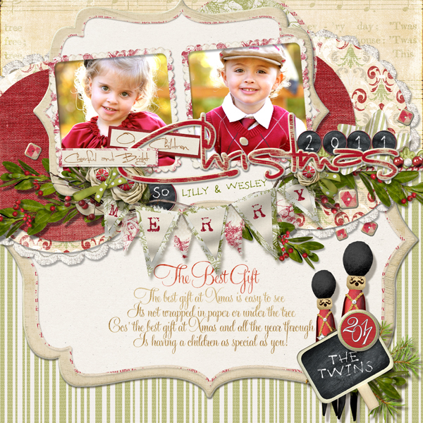 �Christmas 2011� layout by Brandy Murry. See below for links to all products used in this digital scrapbooking layout.