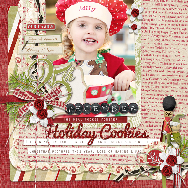 �December 25th� layout by Brandy Murry. See below for links to all products used in this digital scrapbooking layout.