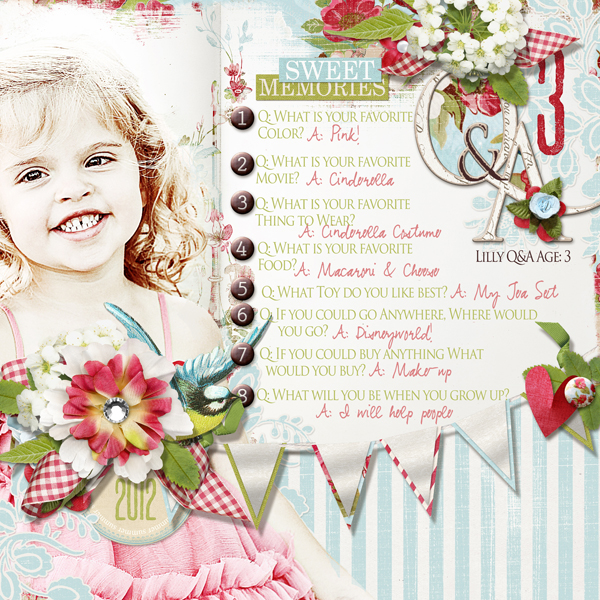 �Q&A� layout by Brandy Murry. See below for links to all products used in this digital scrapbooking layout.