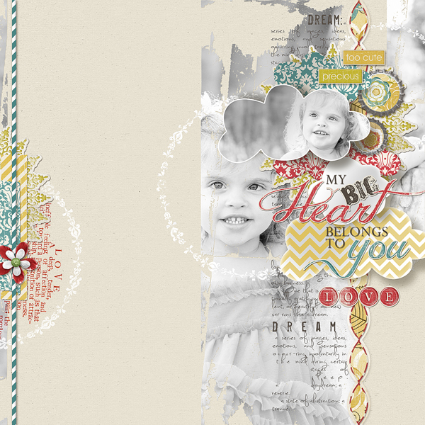 My Heart Belongs to You by Brandy Murry. See below for links to all products used in this digital scrapbooking layout.