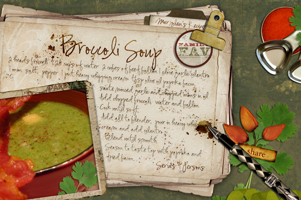 Broccoli Soup recipe card by Brandy Murry. See below for links to all products used in this digital scrapbooking layout.